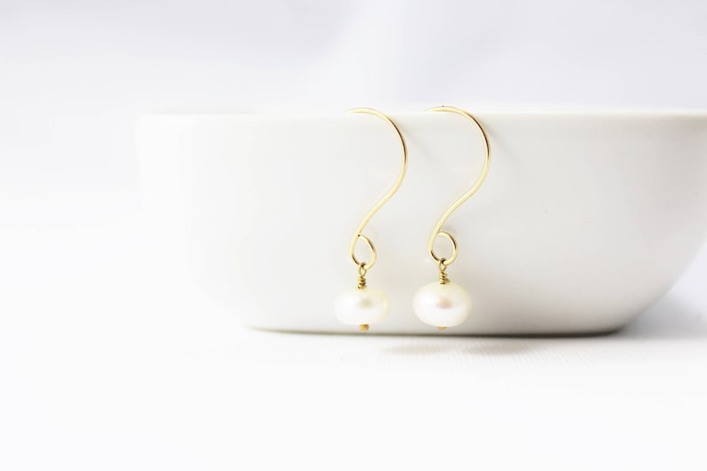 White Freshwater Pearl and 14K Gold Filled Earrings / Holiday image 0