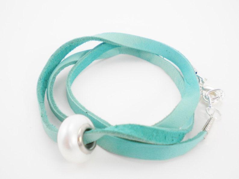 Turquoise Green Convertible Deerskin Wrap Bracelet / Necklace image 0
