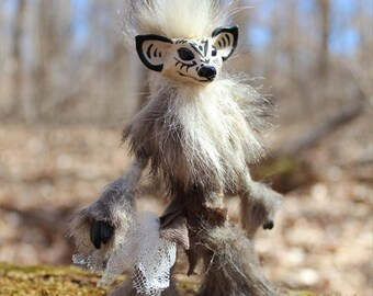 Reserved for Sharon, Drakor, Monster Pet OOAK Art Doll, hand made, soft posable with fur