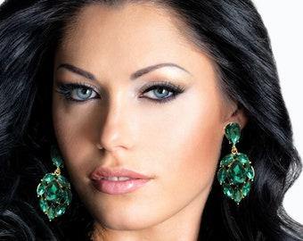 Emerald Green Earrings Posts Green Green and Gold LARGE Emerald green Teardrop Drop Estate Style Earrings