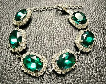 Emerald bracelet silver emerald bracelet gold, Angelina Jolie emerald green bracelet Wedding bracelet Rhinestone Oval expandable Bracelet