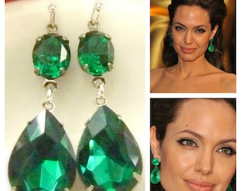 Emerald Green Earrings Angelina Jolie Inspired Style Teardrop Drop Estate Style Earrings