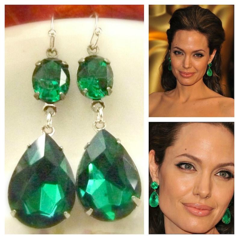 273e7f14d Emerald Green Earrings Angelina Jolie Inspired Style Teardrop | Etsy