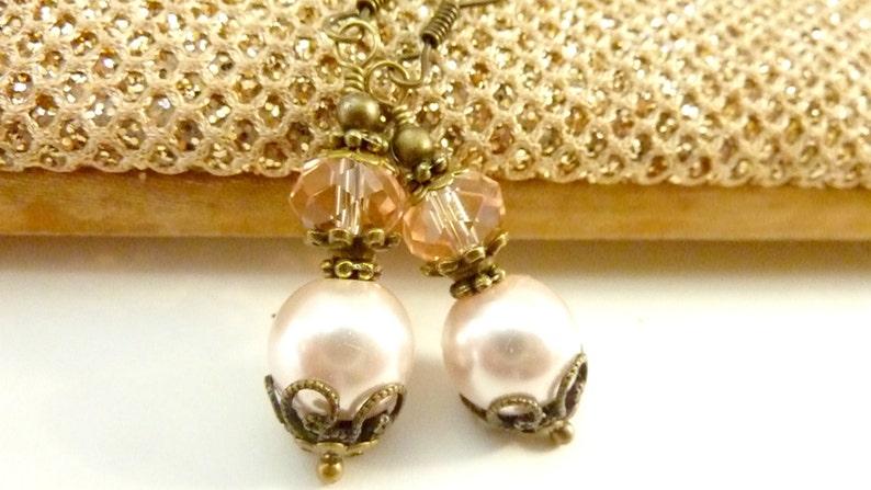 Bridesmaids blush pink earrings vintage pale peach pink glass pearls brass filigree