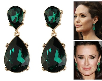 Emerald Earrings Posts Green Angelina Jolie Kyle Richards LARGE Emerald green Teardrop Drop Estate Style Earrings
