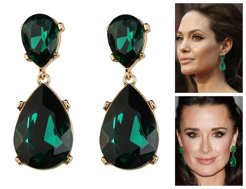 7ddcc82ff Emerald Earrings Posts Green Angelina Jolie Kyle Richards | Etsy