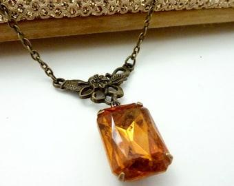 Amber Necklace Honey Topaz Necklace Vintage Rhinestone Estate Style jewelry