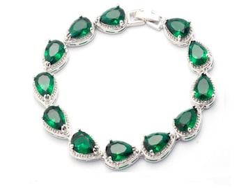 Emerald bracelet silver emerald bracelet gold, Angelina Jolie emerald green bracelet Wedding bracelet Rhinestone Vintage Style