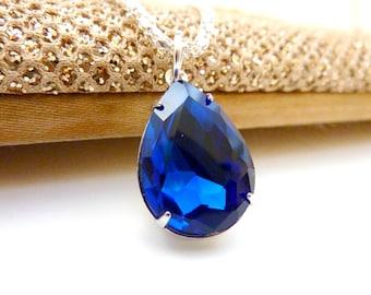 Sapphire Blue Necklace September Birthstone Pendant Bridesmaids Wedding Necklace