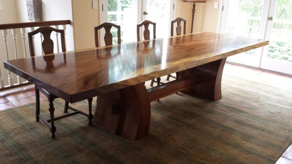 Slab Dine Table Long Trestle Table Fine Woodworking By Etsy
