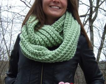 Infinity Scarf, Chunky, Crochet, Lime Green, women's circle scarf