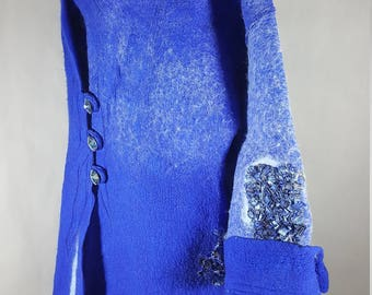 Jewel Blue hand felted art-wear silk chiffon fine merino wool winter coat SWAROVSKI buttons side pocket knit patch