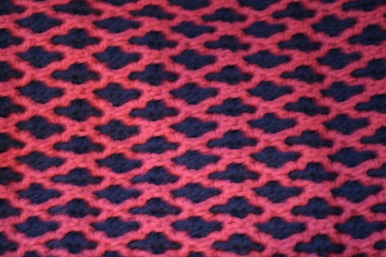 Rose and windsor blue intertwined afghan