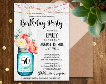 Birthday Party Invitations Printable Adult 50th Surprise Invite Rustic Watercolor Flowers Mason Jar