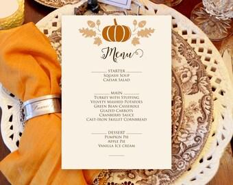 dinner menu pumpkin menu thanksgiving fall menu printable etsy
