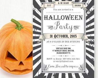 printable halloween invitations for adults halloween party etsy