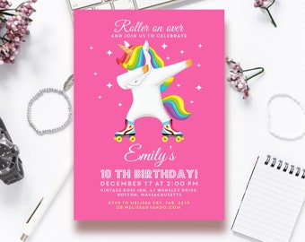 Unicorn Birthday Invitation Girl Printable Roller Skating Editable Skate Party Invites 10th