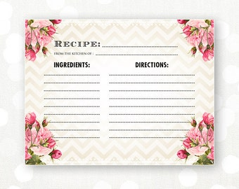 printable recipe card bridal shower chevron rose instant download retro rustic vintage shabby chic recipes cooking cards