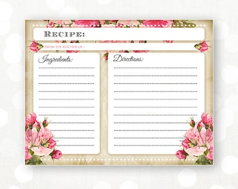 printable recipe card for bridal shower rustic flowers pink rose instant download recipes cooking cards retro vintage shabby chic cards