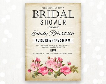 printable bridal shower invitation retro rose invite shower etsy