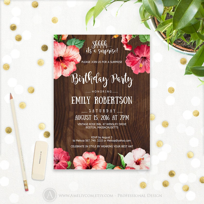 Aloha Birthday Party Invitations Printable Hibiscus Tropical