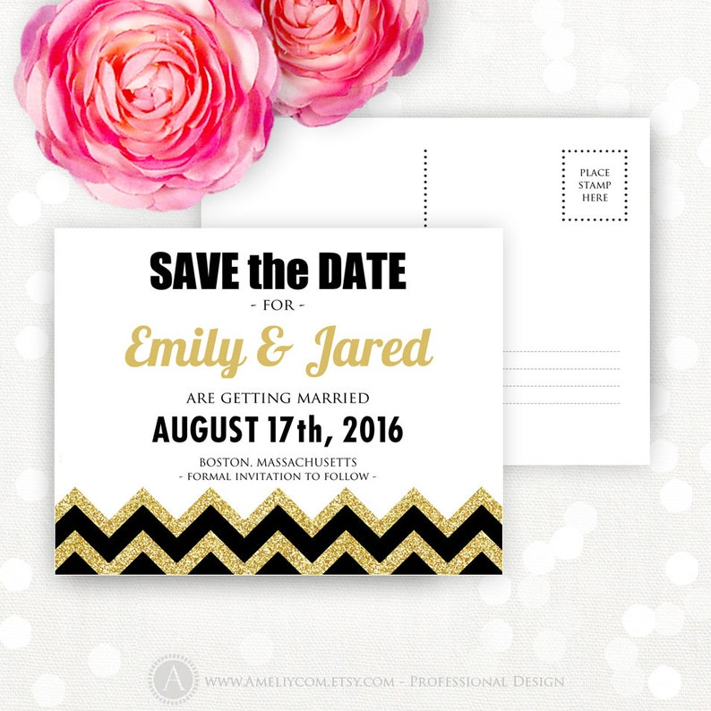 Printable Save the Date Gold /& Black Chevron Girly Glam Weddings Save the Date Postcard Template INSTANT DOWNLOAD Editable for print at home