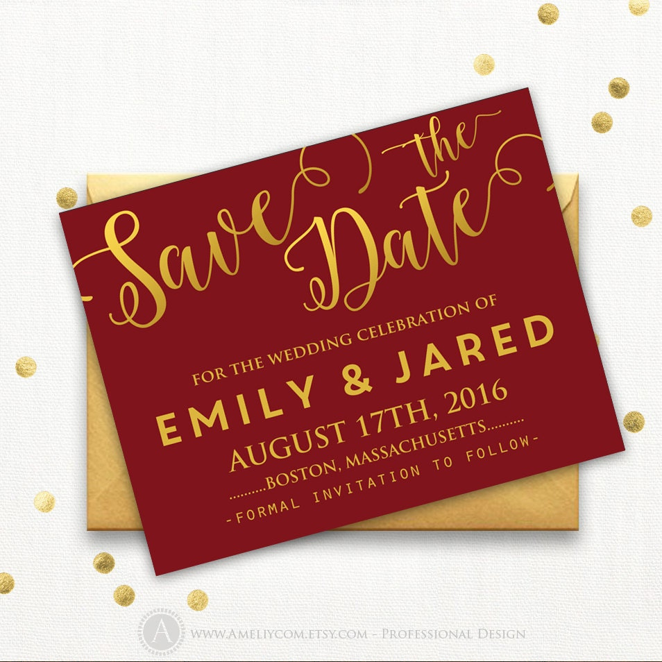 Printable Burgundy Gold Save the Date Card Wedding Save the   Etsy