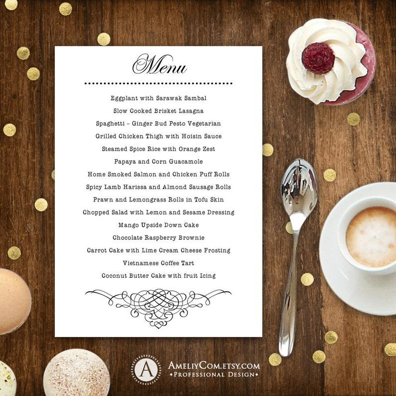 Printable Menu White for Wedding - Instant download EDITABLE Template PDF  file - Retro Digital Menu Card - DIY Menu Cards for Print at Home