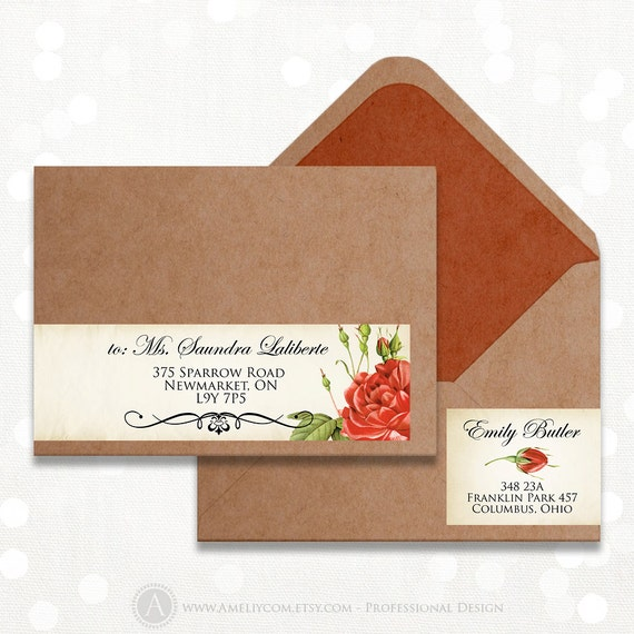 items similar to printable wrap around address labels instant download diy  editable vintage red