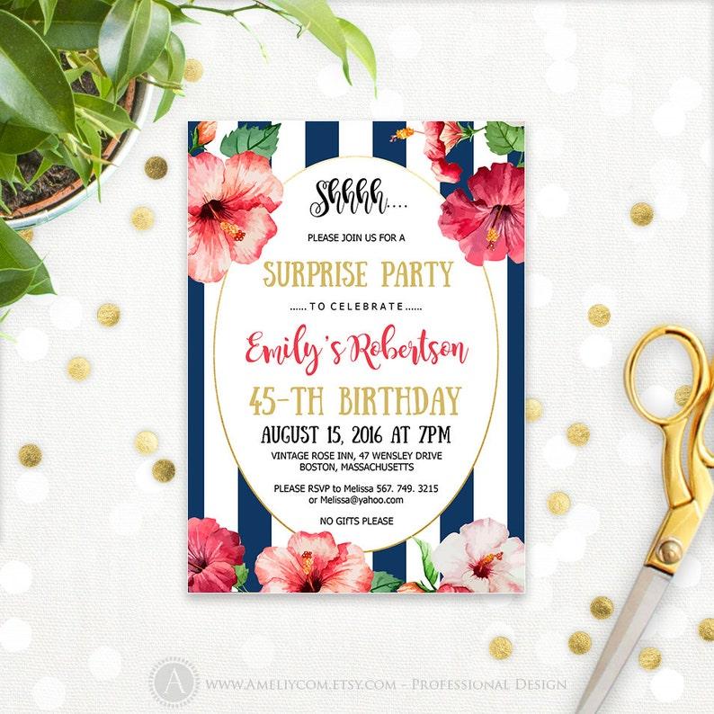 Hawaiian Birthday Invitations Printable Tropical Surprise