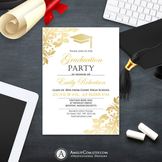 items similar to graduation party invitation template printable gold foul girl    boy college