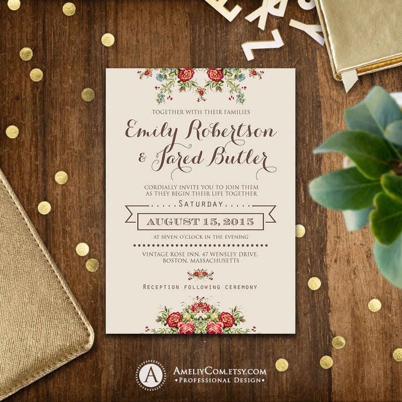 Printable Wedding Invitation Rustic Shabby Chic Neutral Gray Etsy