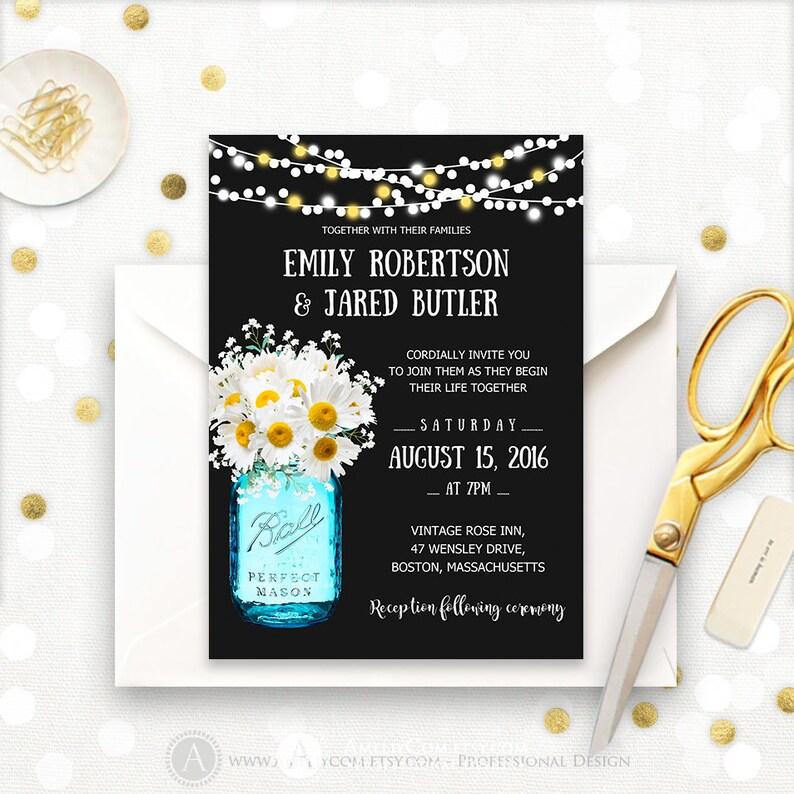 Printable Rustic Wedding Invitation Mason Jar Template Spring Summer Invitations Chalkboard Daisy String Lights Country