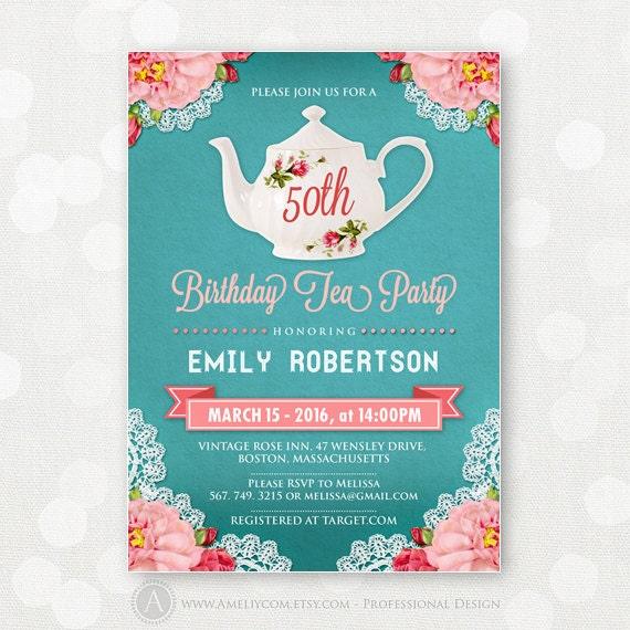 Adult Birthday Tea Party Invitations Invite DIY