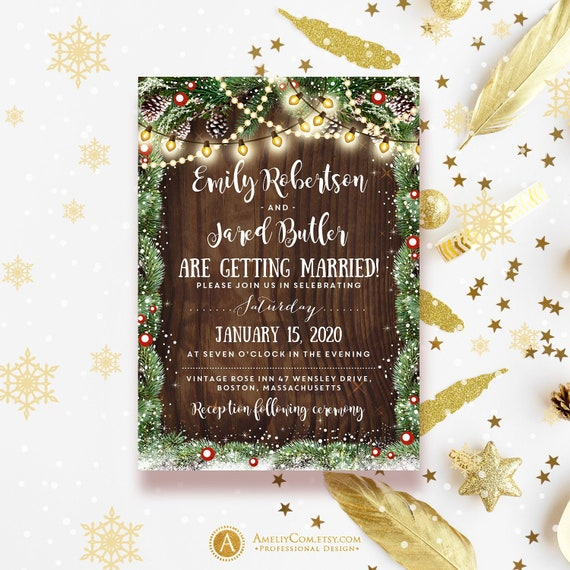 rustic wood wedding invitation template printable christmas etsy