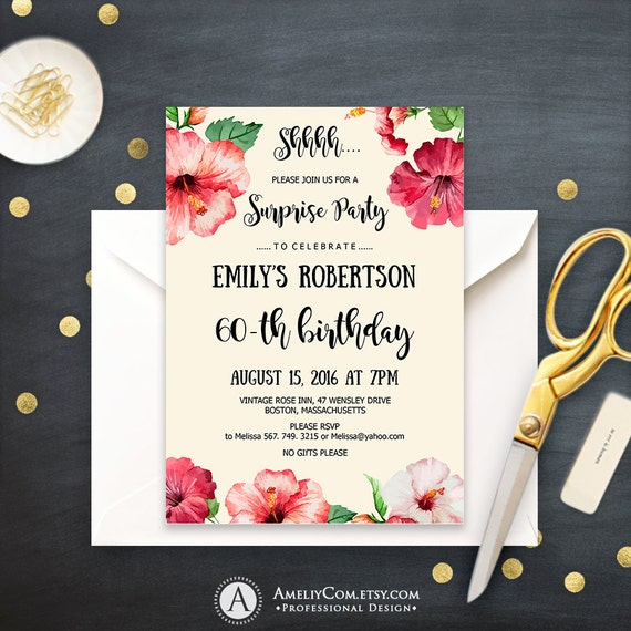 beach birthday surprise party invitations printable tropical etsy