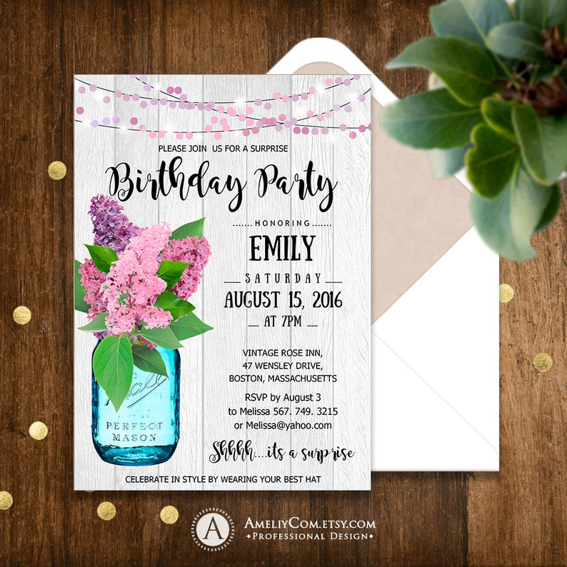 Rustic Birthday Invitations Printable Adult Surprise