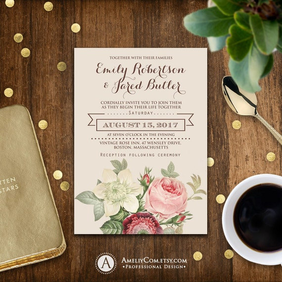 Printable Wedding Invitation Romantic Flowers Vintage Shabby Etsy