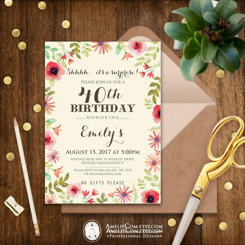 Surprise Birthday Invitations Printable Spring