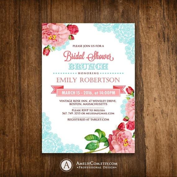 printable bridal shower tea party invitation bridal brunch etsy