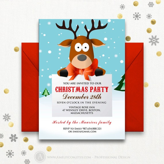 Funny Christmas Party Invitations Printable Reindeer Kids Etsy