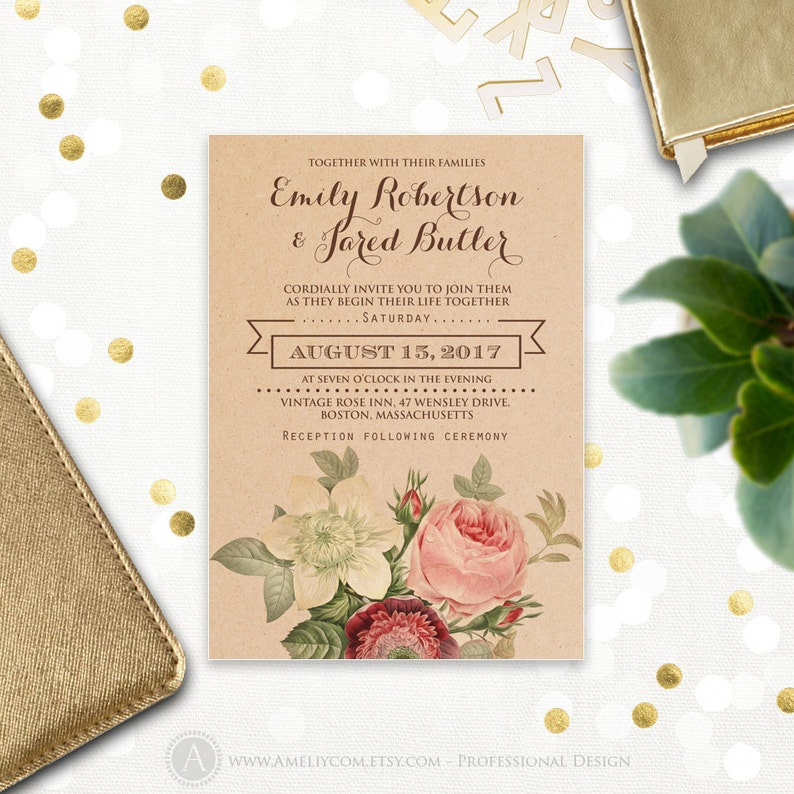 graphic regarding Etsy Wedding Invitations Printable known as Rustic Marriage ceremony Invitation Printable Kraft Basic Bouquets - Passionate Floral Botanical Case in point Do it yourself Template Down load, State weddings