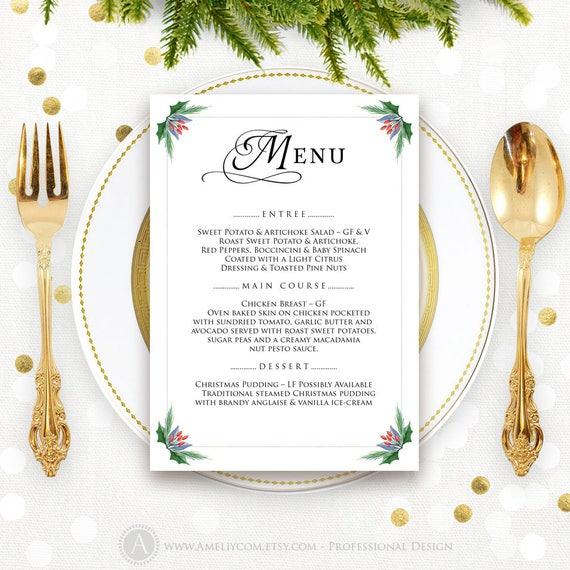 holly christmas menu template printable xmas dinner menu etsy