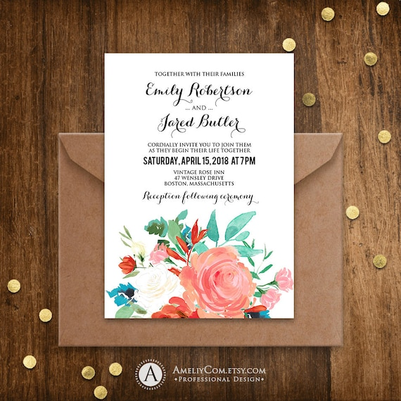 Rustic Wedding Invitation Template Printable Summer Shabby Etsy