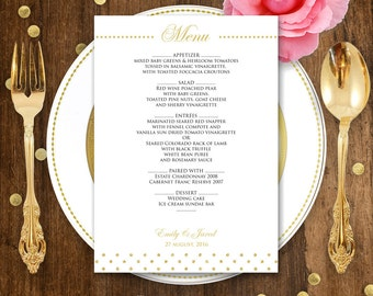 Printable Wedding Menu Gold polka dots - Instant download EDITABLE PDF file - DIY Menu Cards for Print at Home - Digital Template Menu Card
