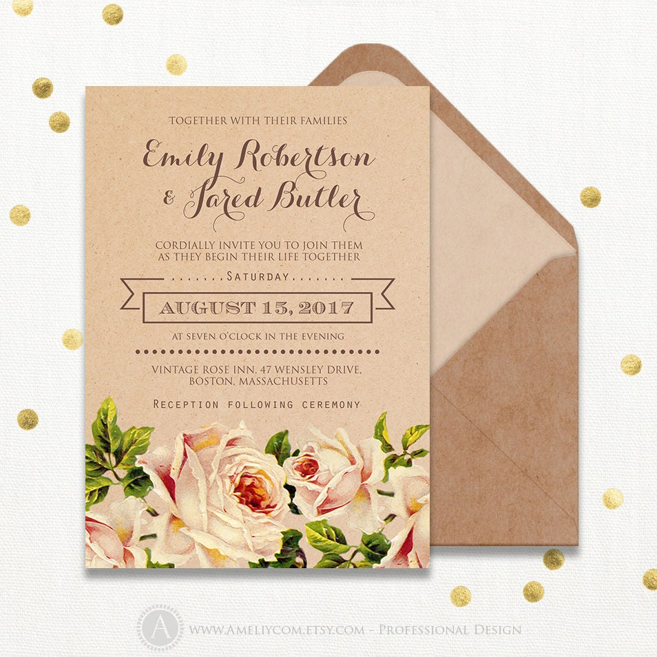 photo regarding Etsy Wedding Invitations Printable identified as Kraft Marriage ceremony Invitation Printable Rustic Peach Product Roses - Intimate Floral Botanical Instance Do it yourself Template Obtain, State weddings