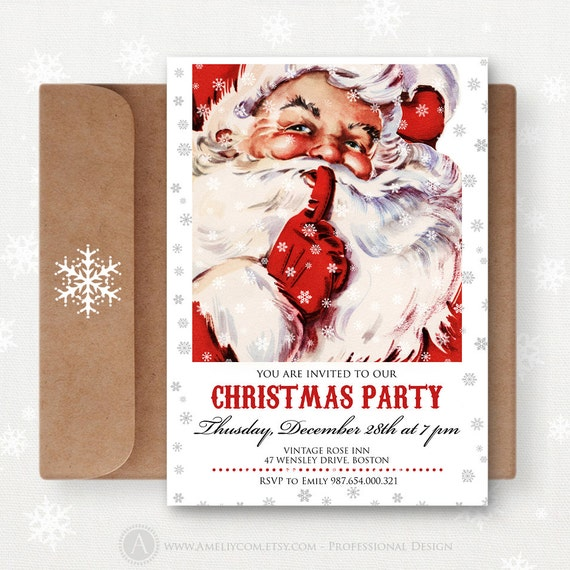 Items similar to Printable Christmas Invitations Party ...