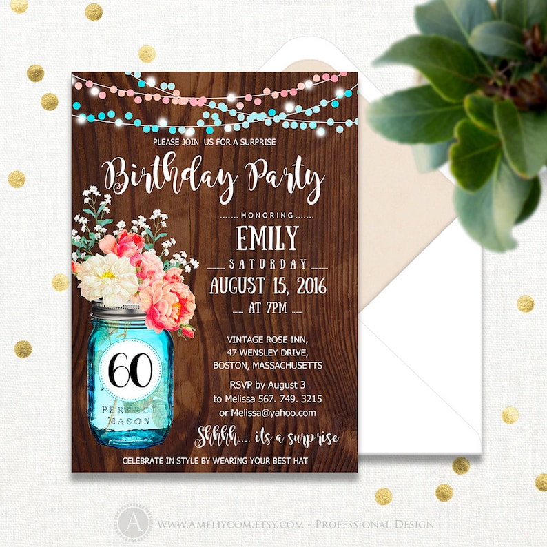 60th Birthday Party Invitations Fall Printable Adult Surprise