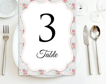 Printable Table Numbers Wedding INSTANT DOWNLOAD Editable DIY for Print at Home. Table Tent Card Vintage Blue & Pink Flower Shabby Chic