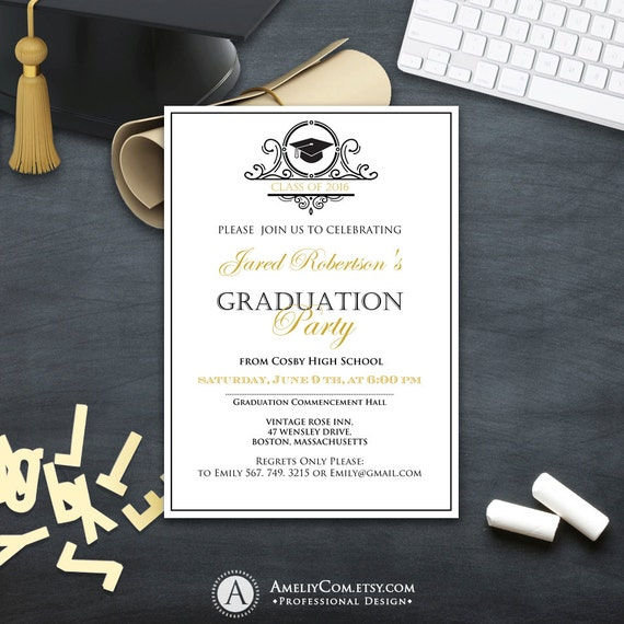 Graduation Invitation College Printable Template Boy Girl Graduation Announcement Instant Download High School Graduation Party Invitation